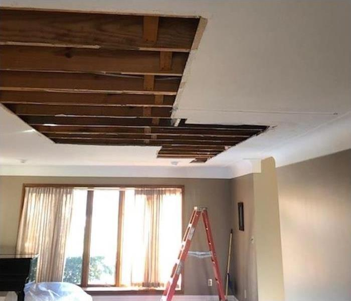 Before restoring ceiling from water damage