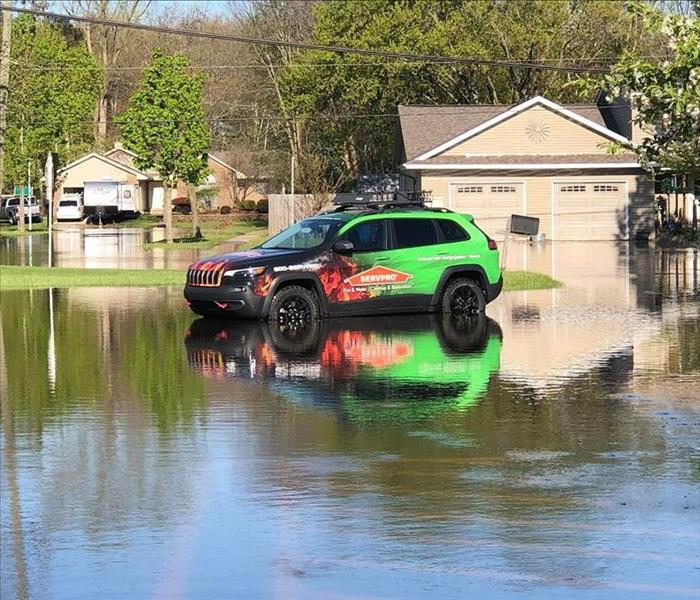 SERVPRO jeep in floodwater