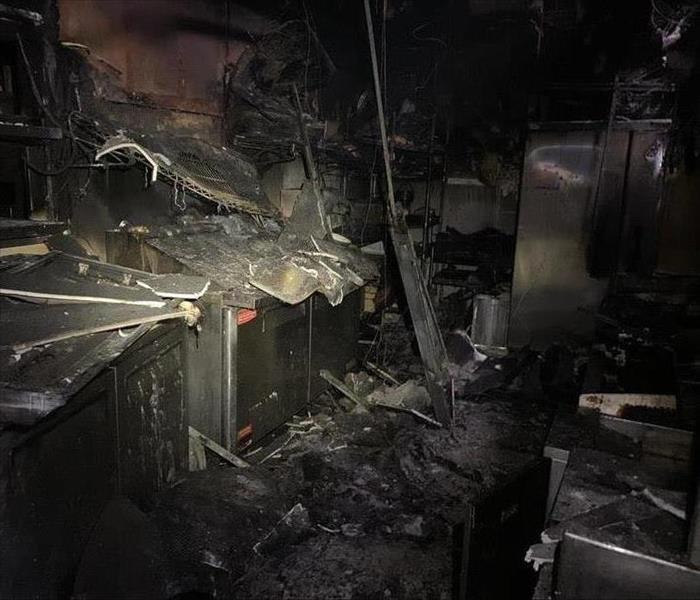 Close up of a kitchen fire in restaurant