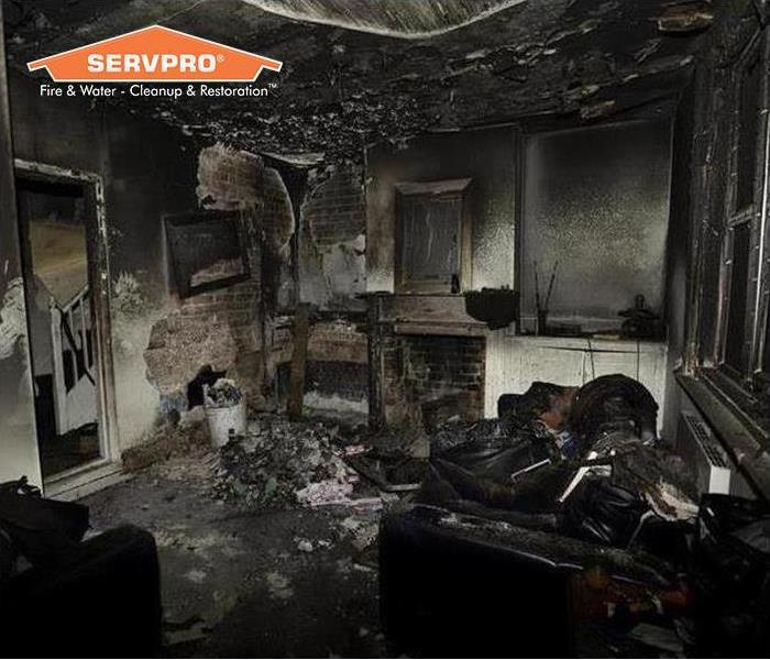 Inside of a home with severe fire damage
