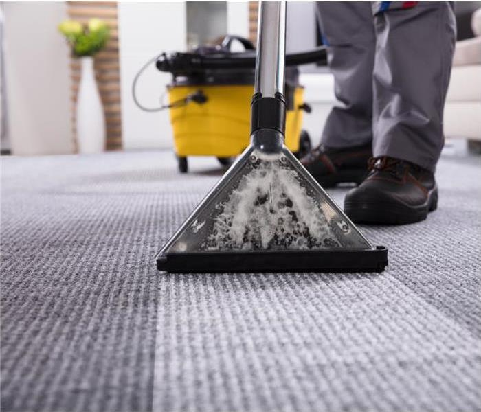 Close up of commercial carpet cleaning